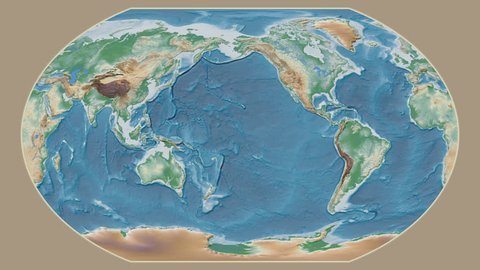 Togo area presented against the global physical map in the Kavrayskiy VII projection with animated oblique transformation