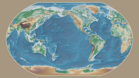 Svalbard area presented against the global physical map in the Kavrayskiy VII projection with animated oblique transformation