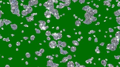 Diamonds Rain Falling Diamonds 4K Glamour Crystals alpha matte Animation. Has alpha matte green screen Alpha Channel transparent mask