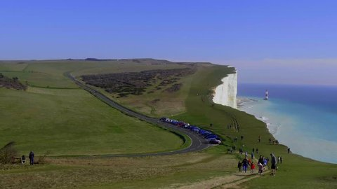 The white cliffs of Seven Sisters at the south coast of England - EASTBOURNE / ENGLAND - FEBRUARY 21, 2019