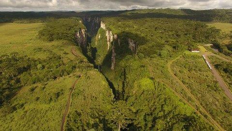 Cambará do Sul, Rio Grande do Sul / Brazil - 02/28/2019: Aerial view of Itaimbezinho Canyon - Aparados da Serra National Park