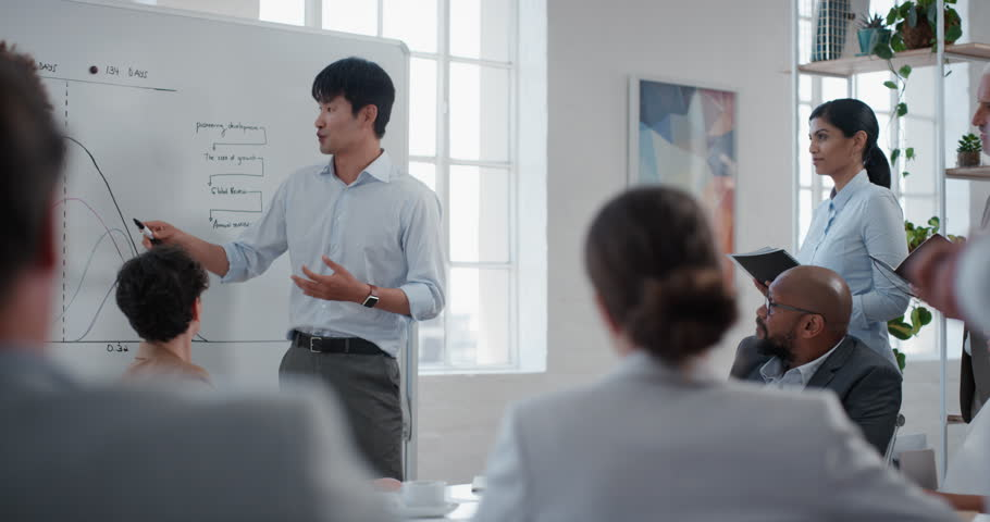 Asian businessman presenting project development seminar showing diverse corporate management group ideas on whiteboard in startup office training presentation | Shutterstock HD Video #1024998656