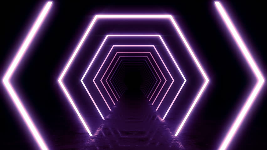 Abstract background with animation of flight in abstract futuristic tunnel with neon light. Animation of seamless loop.  | Shutterstock HD Video #1025051276