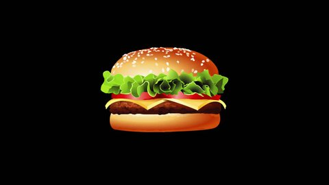 Pixel burger glitch background animation seamless loop. New quality universal vintage stop motion dynamicl video footage