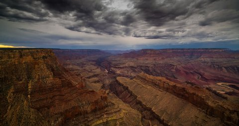 Monsoon Storms roil and churn the twilight desert sky above the Grand Canyon