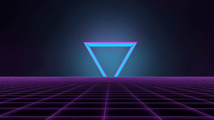 80's Retro futuristic background. Motion above light grid surface. Beautiful animation with neon lights. Synthwave and retrowave stylization. Rising neon triangle against dark backdrop. | Shutterstock HD Video #1025133386