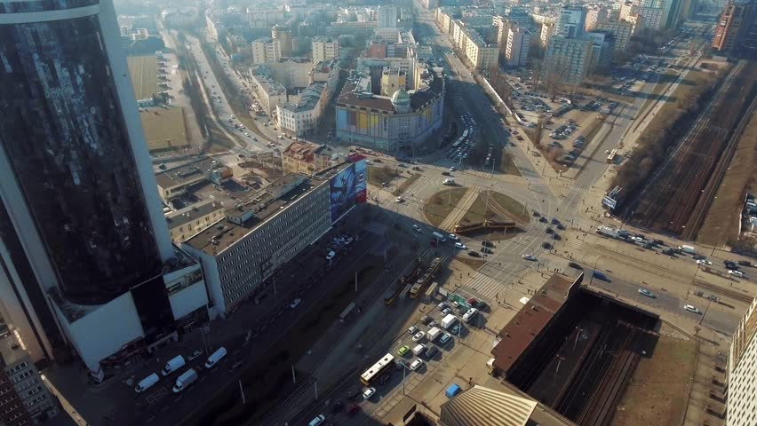 Aerial view of the roundabout in the center of Warsaw. 02. March. 2019. Flight over a roundabout at rush hour. | Shutterstock HD Video #1025144126
