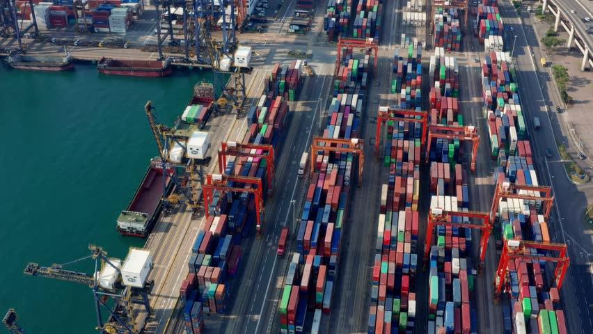 Kwai Tsing , Hong Kong 04 March 2019:-Kwai Tsing Container Terminals in Hong Kong   Shutterstock HD Video #1025182256