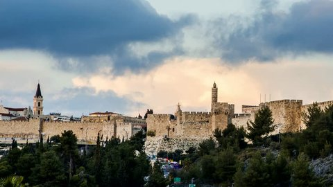 Jaffa gate and the Tower of David time lapse with clouds moving, Jerusalem