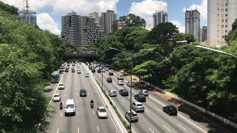 Cars traffic in avenue 23 de Maio in sao paulo city.