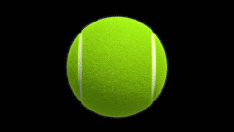 3D Rendered Rotating Tennis Ball with Alpha Matte
