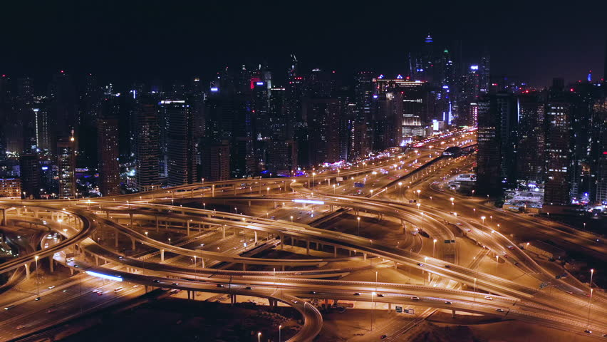 Aerial Around Urban Traffic Junction Overpass Traffic Jam Metropolitan City Skyline Dubai Business District Low Light Uhd Hdr 4k | Shutterstock HD Video #1025330516