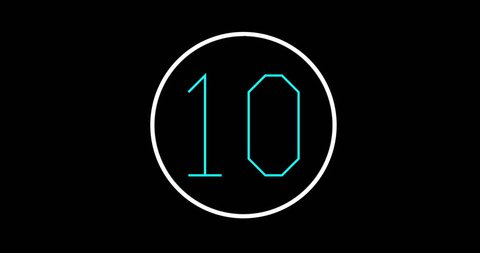countdown from 10 to 0, graphics with hitech font on black background with cursor and time scroll bar. Flat and modern design with bright colors. Count Down in 4K using a computer style font