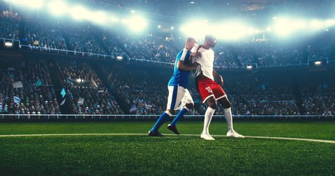 Soccer player catches a ball with his feet and continue his attack. The opposite team player tries to block him. The players wear unbranded soccer uniform. Stadium and crowd are made in 3D.