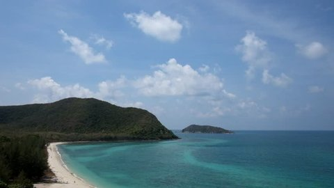 Beautiful clear blue sky white sand beach with aqua crystal clear water at Thailand sea landscape high view from mountain. Sattahip Thailand.