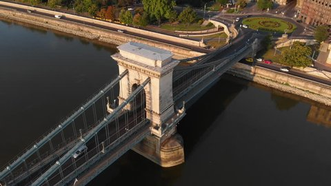 Aerial view to Chain bridge and the city, Budapest, Hungary