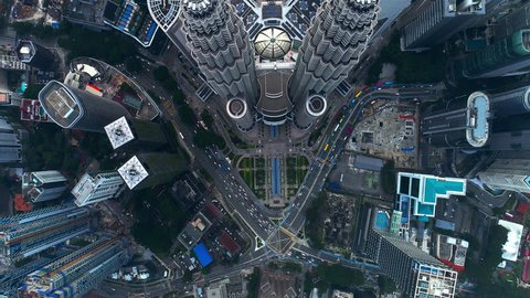 Kuala Lumpur, MALAYSIA. October 24, 2018. Aerial view KLCC or Petronas Twin Tower cityscape in the middle of Kuala Lumpur from drone.