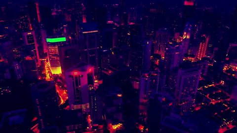 Infrared thermovision image panorama of big city, showing difference temperature
