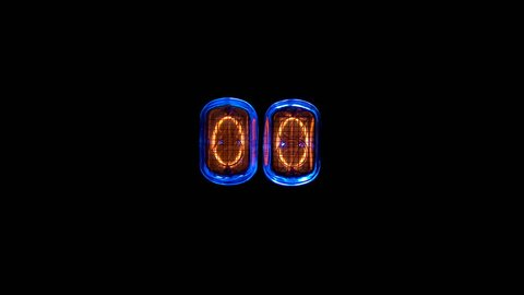 counting time counters, numerical counter from 15 to 0, Gas discharge indicator Nixie tube