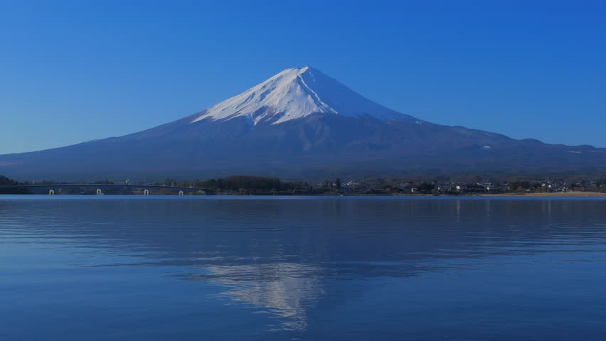 Mt.Fuji with blue sky from Lake Kawaguchi Japan 4k mp4 03/09/2019 | Shutterstock HD Video #1025512046