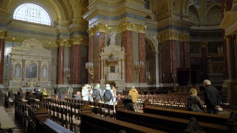 BUDAPEST, HUNGARY - OCTOBER 3, 2015: Interior of St. Stephen's Basilica (Szent Istvan Bazilika). Catholic Cathedral and one of the main attractions in Budapest