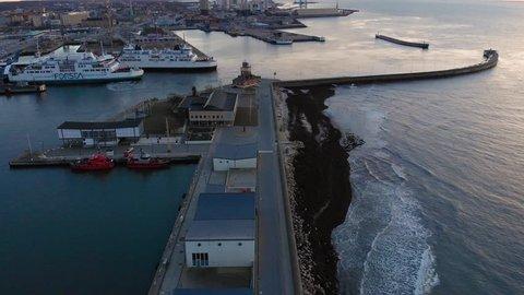 Helsingborg, Helsingborg / Sweden - 01 04 2019: Aerial of ferry in Helsingborg, Sweden