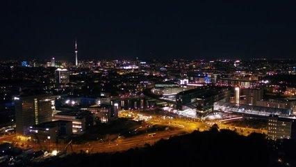 Aerial Germany Berlin June 2018 Night 30mm 4K Inspire 2 ProresAerial video of downtown Berlin in Germany at night