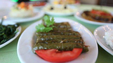 Turkish food meze, lots of different fish meze at dinner tables, traditional turkish food, greek food, mediterrenean food
