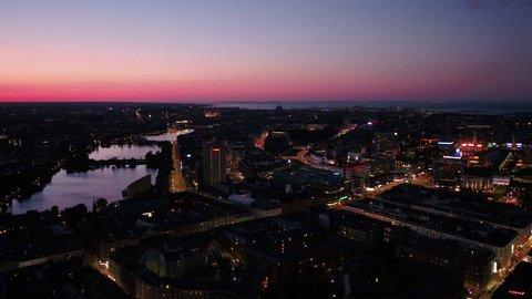 Aerial Denmark Copenhagen June 2018 Night 30mm 4K Aerial video of downtown Copenhagen in Denmark at night.