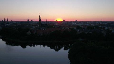 Aerial Denmark Copenhagen June 2018 Sunset 30mm 4K Inspire 2 Prores  Aerial video of downtown Copenhagen in Denmark at sunset.