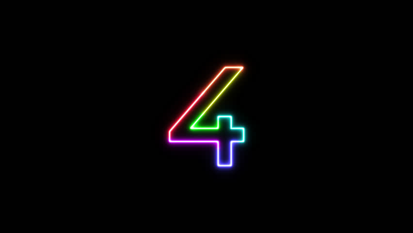 Number 4 - outline neon glowing in 7 rainbow colors on transparent background for intros, logo. Seamless loop. Fun animated font. 7 colors neon symbol. 4k video. Alpha channel | Shutterstock HD Video #1025586866