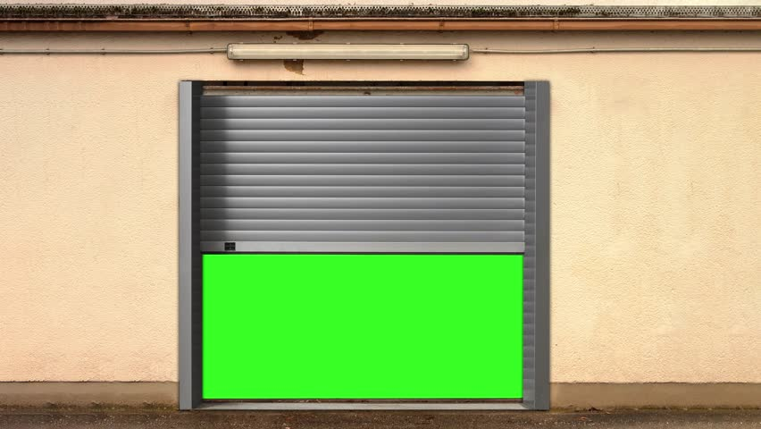 Metal Garage Door Opening with Green Screen effect, Elevator with Green Screen effect, warehouse Green Screen effect, Green Screen effect 4k animation #1025639186
