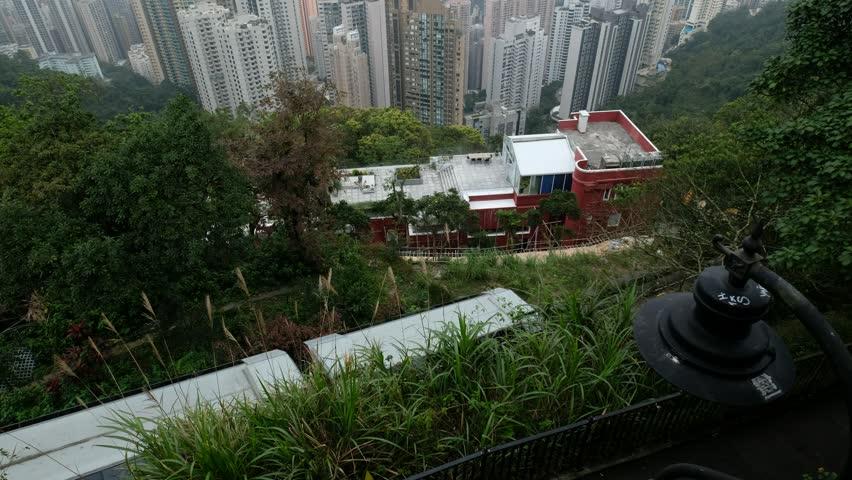 Hong Kong cityscape skyline view from Victoria Peak | Shutterstock HD Video #1025658536