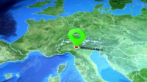 Bergamo, Italy on the Europe map. 3d map render, motion through clouds, satellite view from top. Animated pin marked location of Bergamo city on the geographic map. Travel intro - destination Italy.
