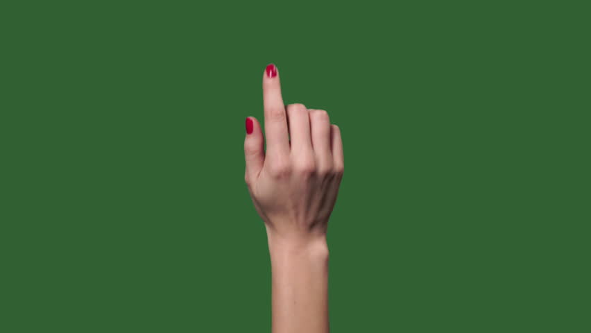 Green screen. Chromakey. Touch screen woman finger gestures