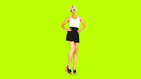 Gif animation design. Fashion girl in colorful stylish outfit