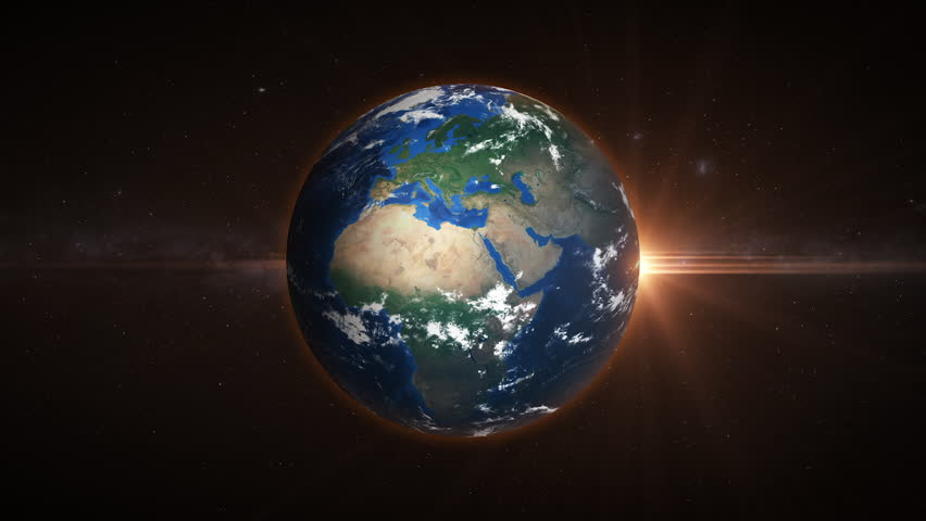 3D Earth loop rotation in space with lens flare effects. Realistic and very high quality. Seamlessly loopable.  | Shutterstock HD Video #1025816396
