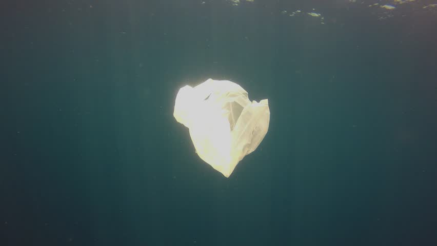 Plastic pollution in ocean. Plastic bags pollute the sea | Shutterstock HD Video #1025829176
