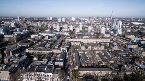 Aerial View of London, East London, Stratford, Bromley, Hackney, Poplar, Bow, Barking, United Kingdom