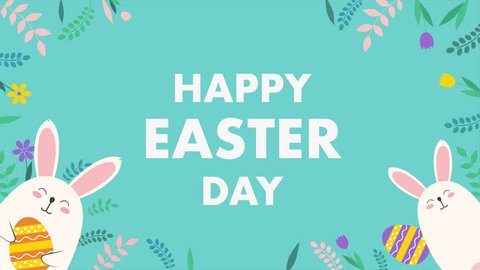 Easter text, animated footage in 4K. Close up text and rabbit on green background. Luxury and elegant dynamic style holiday template.