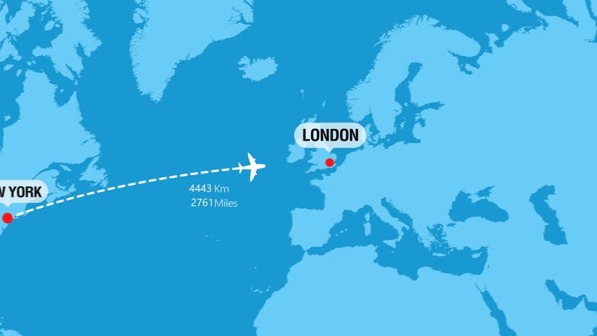 New York to London Flight Travel Route