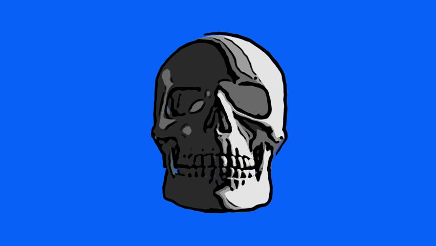 Sketch of a skull spinning on blue background | Shutterstock HD Video #1025920226