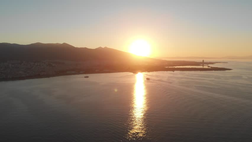Various drone shots on a sunny afternoon in Izmir, the third largest city in Turkey. Beautiful Aegean coast.   Shutterstock HD Video #1025964056