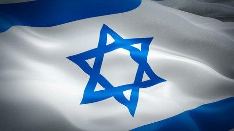 Jewish flag waving in wind video footage Full HD. Realistic Jewish Flag background. Israel Flag Looping Closeup 1080p Full HD 1920X1080 footage. Israel Jerusalem Asian country flags Full HD