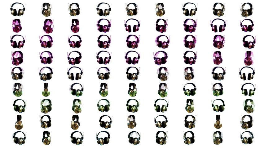Stop frame animation of changing retro headphones made in a grid pattern | Shutterstock HD Video #1025966786