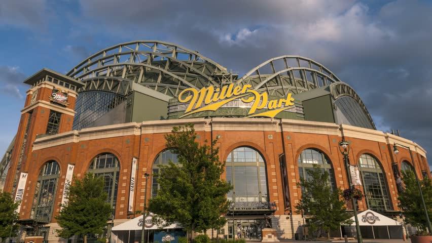 MILWAUKEE, WISCONSIN, USA - June 2nd, 2015 Miller Park, home to Milwaukee Brewers Baseball Team. UHD 4k Time-lapse