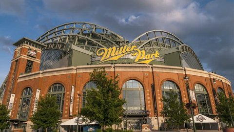 MILWAUKEE, WISCONSIN, USA - June 2nd, 2015 Miller Park, home to Milwaukee Brewers Baseball Team. UHD 4k Time-lapse