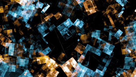 Abstract data forms flicker, shift and pulse (Loop).