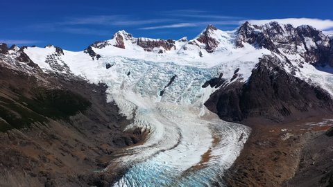 Aerial drone view of glacier near Torres del Paine National Park, Patagonia, Chile.