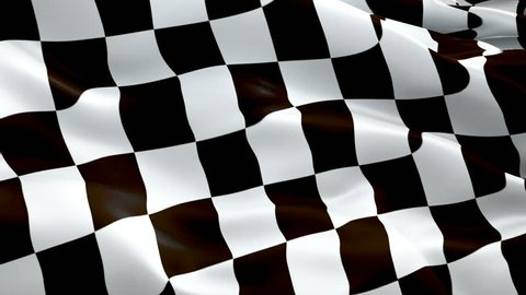 Checkered flag video waving in wind. Isolated Waving Checkered Flag. Chequered Flag Looping Closeup 1080p Full HD 1920X1080 footage. Checkered Black white Start Finish Win Race flags footage video